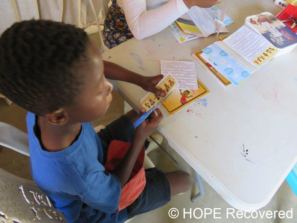 Kids Club for vulnerable children - crafts as a help to memorize the lesson of the day